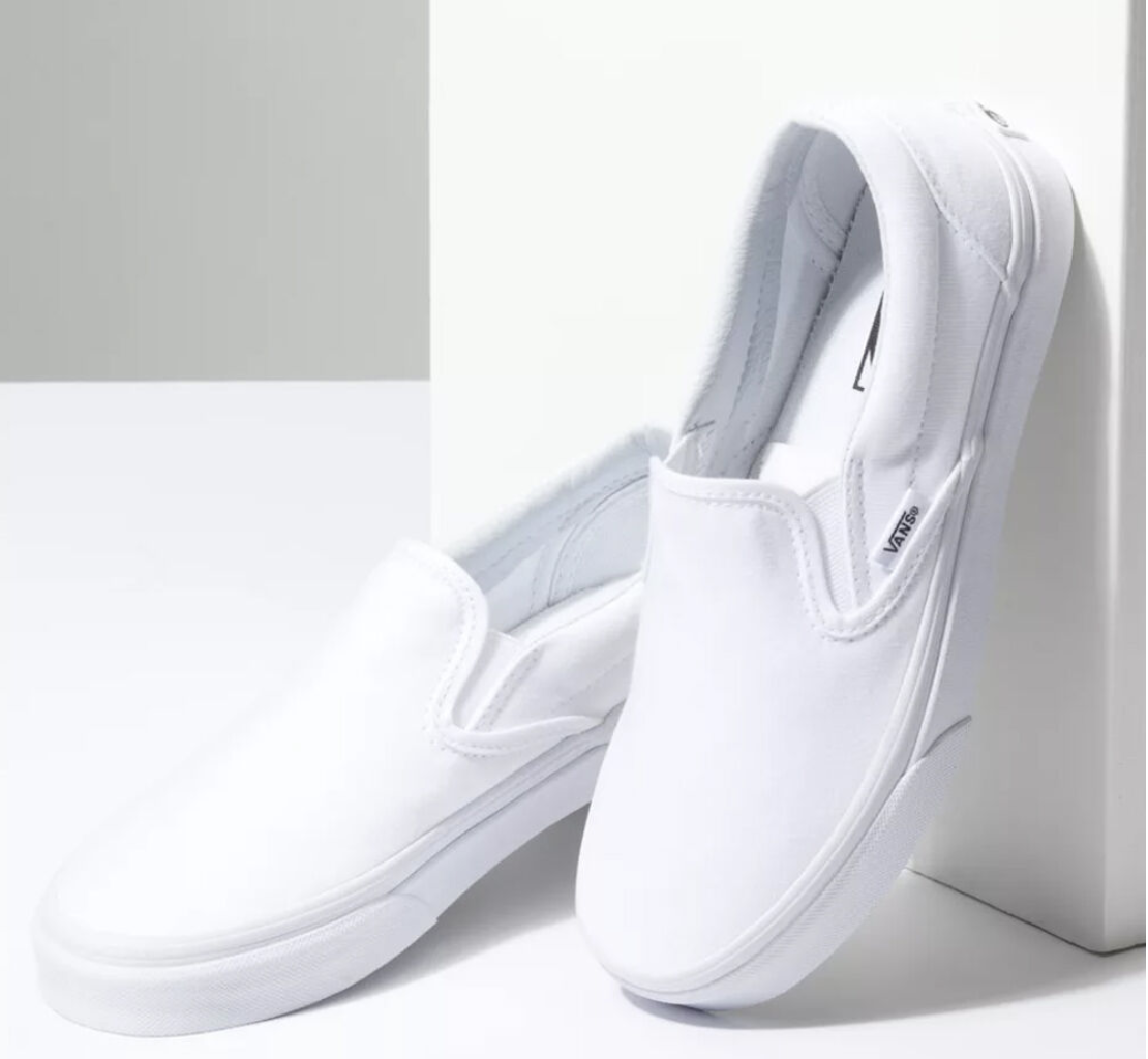 Bright white shoes that slip on
