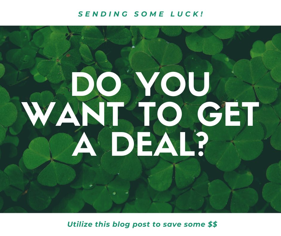 Introductory Image to your March guide on how to save money! Covered in green four leaf clovers.