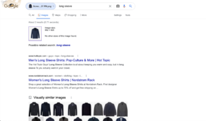 Screenshot of the google results page to guide users how to utilize image search to save money