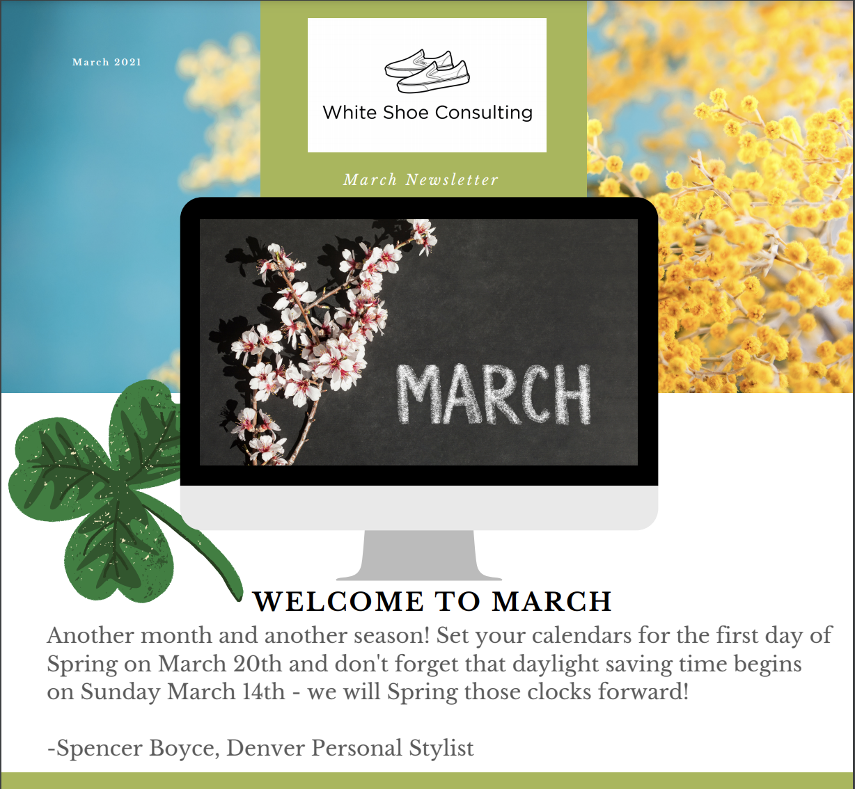 March stylized image with spring flowers and clovers all over to introduce the March Newsletter.