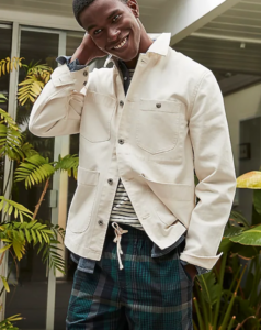 Outfits that you can wear past labor day; white mens jacket