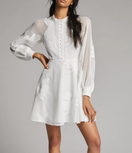 Outfits that you can wear past labor day; white woman's dress with lace