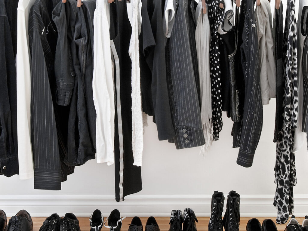 Wardrobe rack with animal prints, stripes, and solid black or white pieces